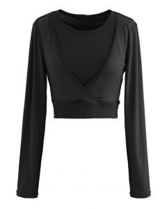 Fake Two-Piece Sleeves Cropped Sports Top in Black