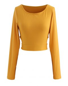 Self-Tie Waist Long Sleeves Cropped Sports Top in Orange