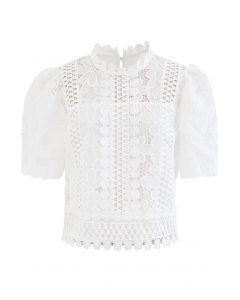 Panelled Sunflower Crochet Crop Top in White
