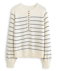 Striped Button Knit Sweater in Cream
