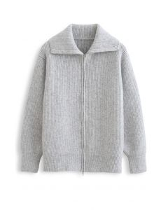 Full Zip Ribbed Knit Cardigan in Grey