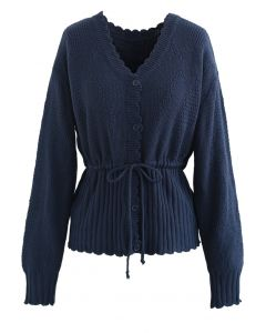 Drawstring V-Neck Button Down Knit Cardigan in Navy