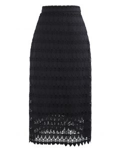 Scrolled Hem Full Crochet Pencil Skirt in Black