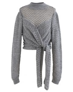 Hollow Out Wrap Bowknot Crop Sweater in Grey