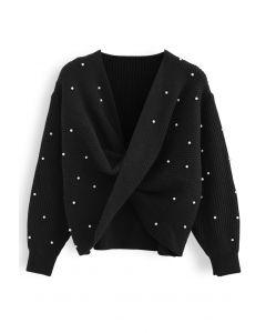 Twist Front Pearl Rib Knit Sweater in Black