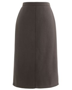 Split Fuzzy Rib Skirt in Brown