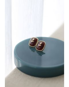 Golden Posy Decorate Faux Agate Earring