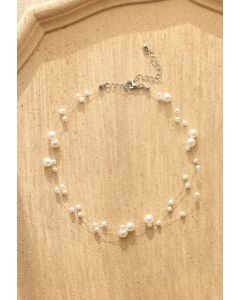 Triple Layer Pearls Choker