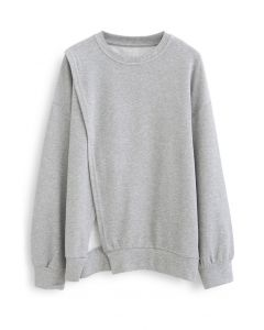 Cross Flap Front Oversized Sweatshirt in Grey