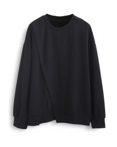 Cross Flap Front Oversized Sweatshirt in Black
