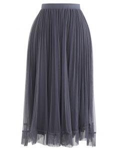 Hi-Lo Mesh Hem Pleated Skirt in Grey