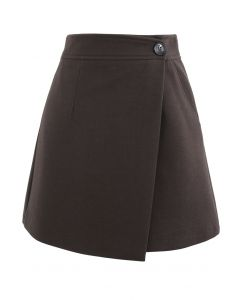 Flap Button Wool-Blend Mini Skirt in Brown