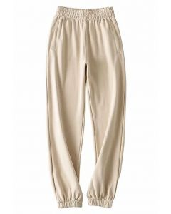 Zippered Side Pocket Joggers in Camel