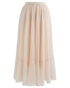 Lightsome Chiffon Pleated Midi Skirt in Cream