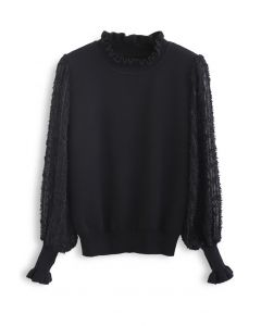 Flock Tassel Sleeves Knit Top in Black