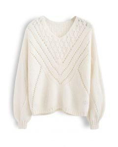 V-Shape Eyelet Fuzzy Knit Sweater in Cream
