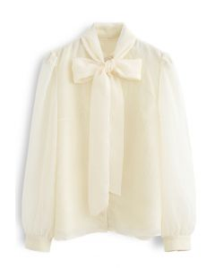 Sheer Bowknot Button Down Shirt in Cream