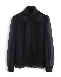 Sheer Bowknot Button Down Shirt in Black