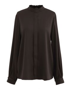 Satin Crochet Trimmed Mock Neck Top in Brown