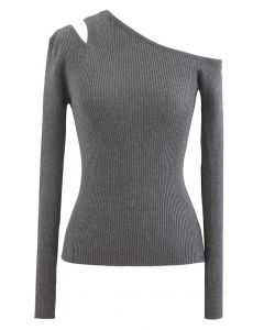 Asymmetric Cut Out Cold-Shoulder Fitted Knit Top in Grey