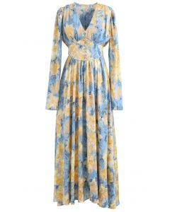 Crystal Trimmed Watercolor Painting Floral Maxi Dress