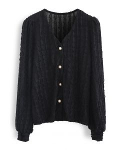 3D Scallop V-Neck Buttoned Top in Black