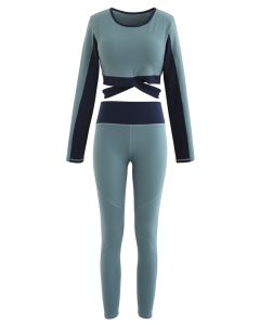 Contrast Cross Waist Top and Leggings Set in Dusty Blue