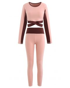 Contrast Cross Waist Top and Leggings Set in Pink