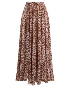 Animal Print Chiffon Maxi Skirt