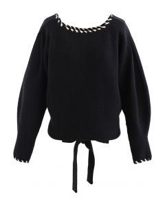 Braid Edge Bowknot Puff Sleeves Sweater in Black