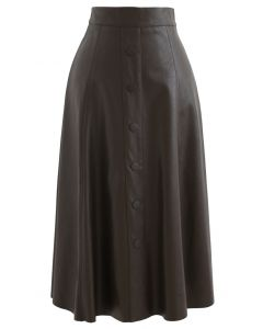 Buttoned Soft Faux Leather A-Line Skirt in Brown
