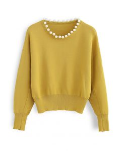 Pearls Trim Round Neck Knit Top in Yellow