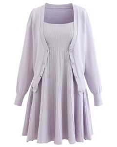 Knit Cardigan and Cami Dress Set in Lavender