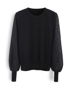 Flower Mesh Sleeves Spliced Knit Sweater in Black