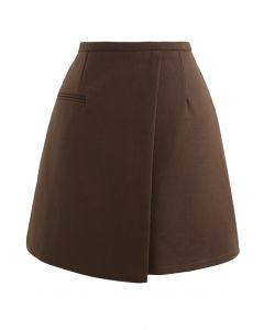 Fake Pocket Flap Bud Skirt in Brown