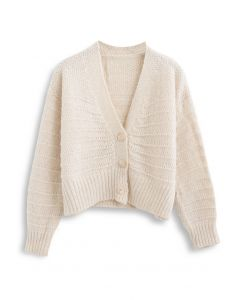 V-Neck Button Down Fuzzy Knit Cardigan in Cream