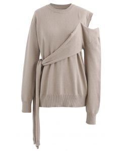 One-Shoulder Knit Sweater in Taupe