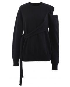 One-Shoulder Knit Sweater in Black