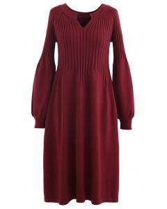 V-Neck Flared Rib Knit Midi Dress in Wine