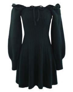 Ruffle Square Neck Knit Midi Dress in Dark Green