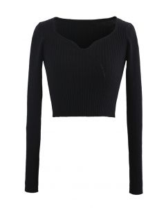 Square Neck Crop Fitted Rib Knit Top in Black