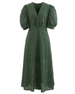 Twist V-Neck Buttoned Eyelet Dress in Green
