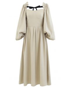 Dramatic Puff Sleeve Shirred Dress in Camel