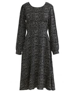 Dots Print Scoop Neck Sleeves Midi Dress in Black