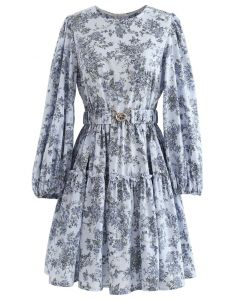 Blue Floral Printed Belted Dress