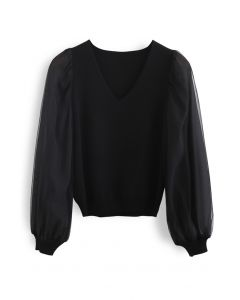 Organza Mesh Sleeves V-Neck Knit Top in Black