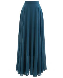Timeless Favorite Chiffon Maxi Skirt in Dark Green