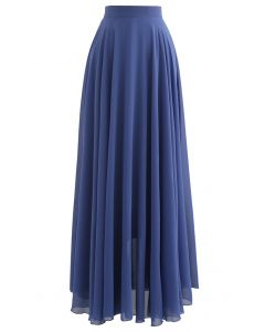 Timeless Favorite Chiffon Maxi Skirt in Dusty Blue