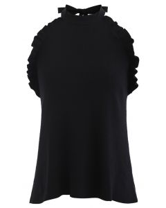 Halter Neck Ruffle Edge Knit Top in Black