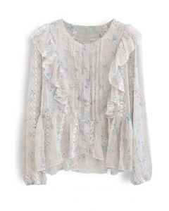 Floret Button Down Hi-Lo Organza Top in Sand